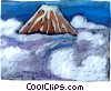 Volcano with clouds Vector Clipart image