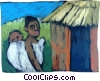 African Villagers Vector Clip Art graphic