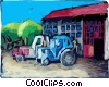 Tractors by the barn Vector Clipart graphic