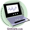 Vector Clipart graphic  of a Notebook computer with chart