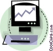 Computer with chart Vector Clipart illustration