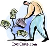 Vector Clip Art graphic  of a Man watering his money tree
