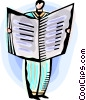Vector Clipart image  of a Man reading the newspaper