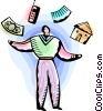 Man juggling home, work and money Vector Clip Art picture