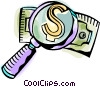 Magnifying glass and money Vector Clipart picture