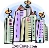 Apartment buildings with satellite dishes Vector Clip Art picture