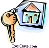 Vector Clipart graphic  of a House key