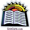Opened Book with sunshine Vector Clipart picture