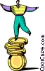businessman balancing on coins Vector Clipart illustration