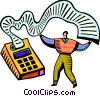 Accountant and his calculator Vector Clipart illustration