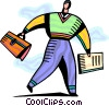 man walking to work with his briefcase and newspaper Vector Clipart illustration