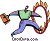 Businessman jumping through hoop on fire Vector Clipart illustration