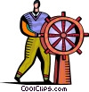 Vector Clip Art graphic  of a Captain's Wheel
