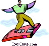 Technology Tools man flying on diskette Vector Clip Art picture