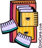 Filing Cabinet with loose folders Vector Clip Art picture