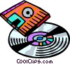 Compact Discs  CD's with diskette Vector Clipart picture