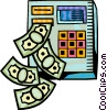 Bank machine with money falling out of it Vector Clipart illustration