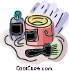 Paint can with brush Vector Clipart illustration