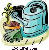 Watering can with gardening gloves and plant Vector Clip Art graphic