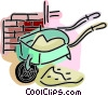 Wheelbarrow filled with cement and brick wall Vector Clip Art graphic