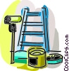 Ladder with paint can and paint roller Vector Clipart illustration