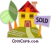 Vector Clipart graphic  of a House with a sold sign on the