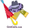 Vector Clipart graphic  of a Hat and umbrella