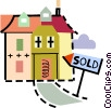 Urban Housing Sold house Vector Clipart illustration