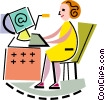 Businesswomen checking e-mail Vector Clipart graphic