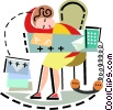 Businesswoman Relaxing at Desk Vector Clipart illustration