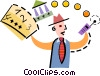 Vector Clip Art image  of a Businessman calling for a bank