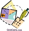 Envelope with pen Vector Clipart illustration