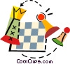 Chess pieces and chess board Vector Clipart illustration