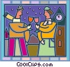 Couple celebrating with wine outside in the cold Vector Clip Art picture