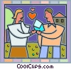 Couple exchanging love letters Vector Clip Art picture