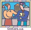 Mother congratulating her son on his graduation Vector Clip Art picture