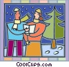 Man and a woman singing Christmas carols Vector Clipart illustration