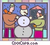 People building a snowman Vector Clipart picture
