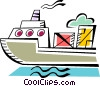Vector Clipart illustration  of a Ships Carrying Cargo and