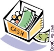 Cash box with bills and coins Vector Clipart picture