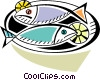 Fish dinner with lemon Vector Clipart image