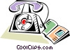 Home telephone with phone book Vector Clip Art picture