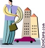 Businessman with buildings and car Vector Clipart illustration
