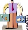 Vector Clip Art image  of a man with briefcases full of money