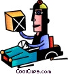 Courier delivering packages Vector Clip Art image