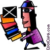 Vector Clip Art graphic  of a Student balancing books