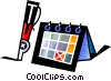 Vector Clip Art graphic  of a Calendar and fountain pen