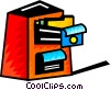 Vector Clip Art graphic  of a Opened filing cabinet