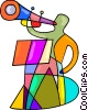 Trumpeter playing Vector Clip Art image