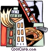 Fire fighter climbing ladder with hose Vector Clip Art image
